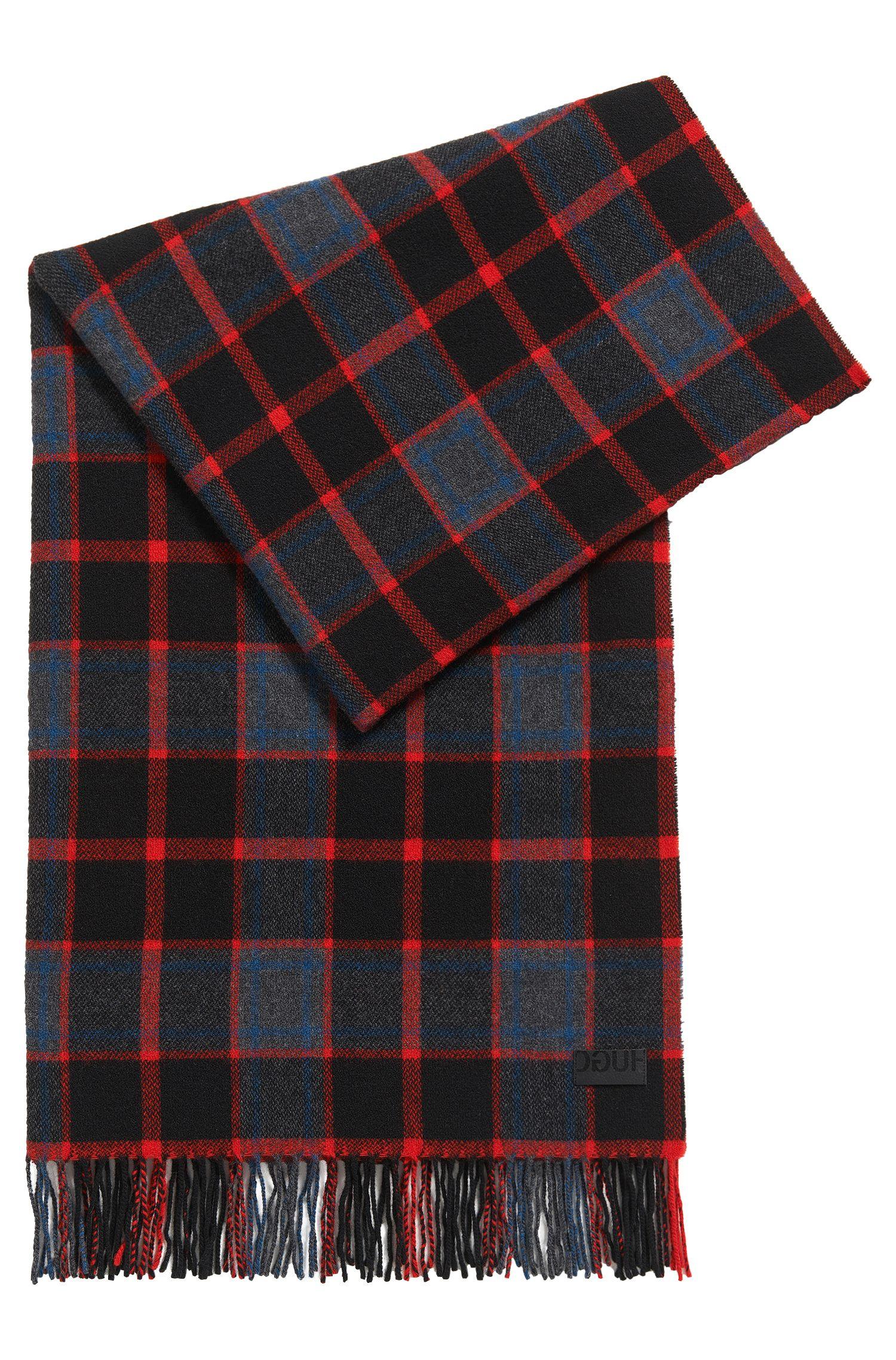Écharpe à carreaux en laine mélangée