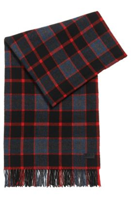 Checked scarf in a wool blend, Red