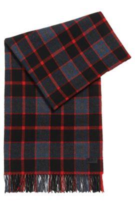 Geruite sjaal van een wolmix, Rood