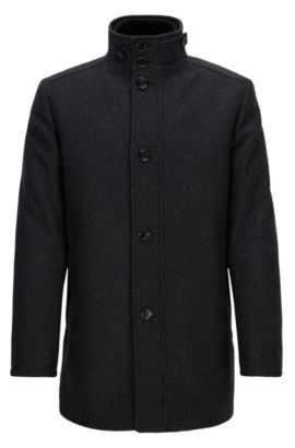 Wave-blocker coat in a wool blend, Anthracite