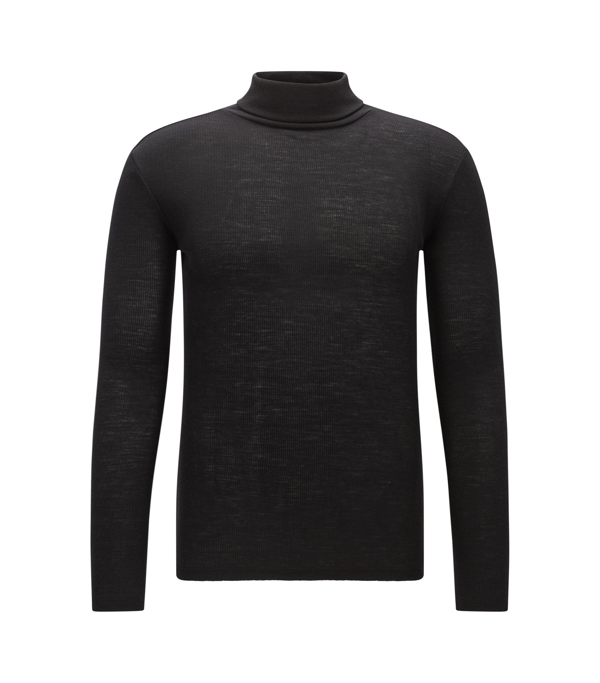 Slim-Fit Rollkragenpullover aus reiner Wolle, Schwarz