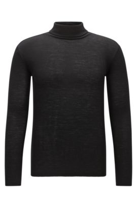 Turtle-neck sweater in pure wool, Black