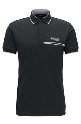 Polo Regular Fit en maille piquée technique, Noir