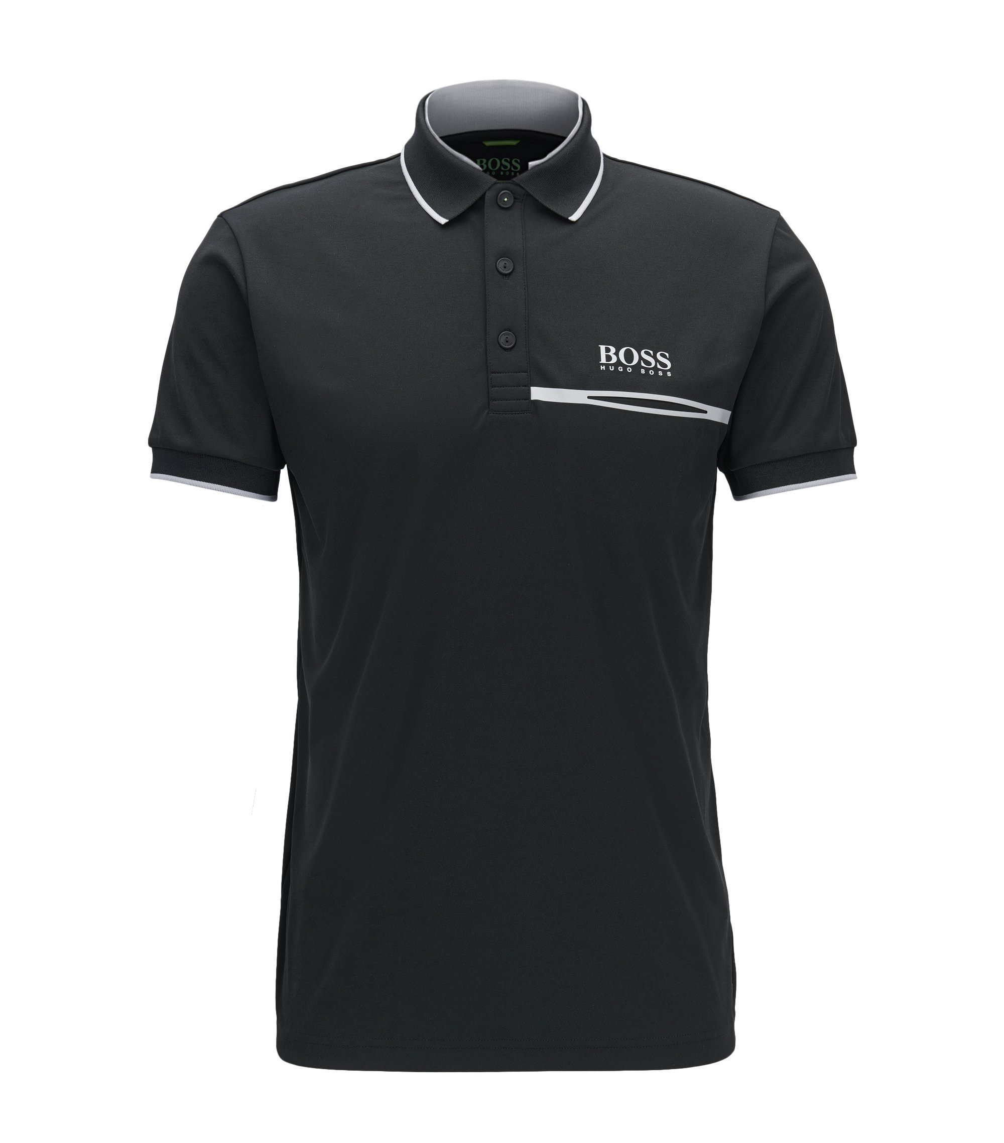 Regular-fit polo shirt in technical piqué, Black