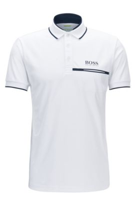 Polo regular fit en piqué técnico, Blanco