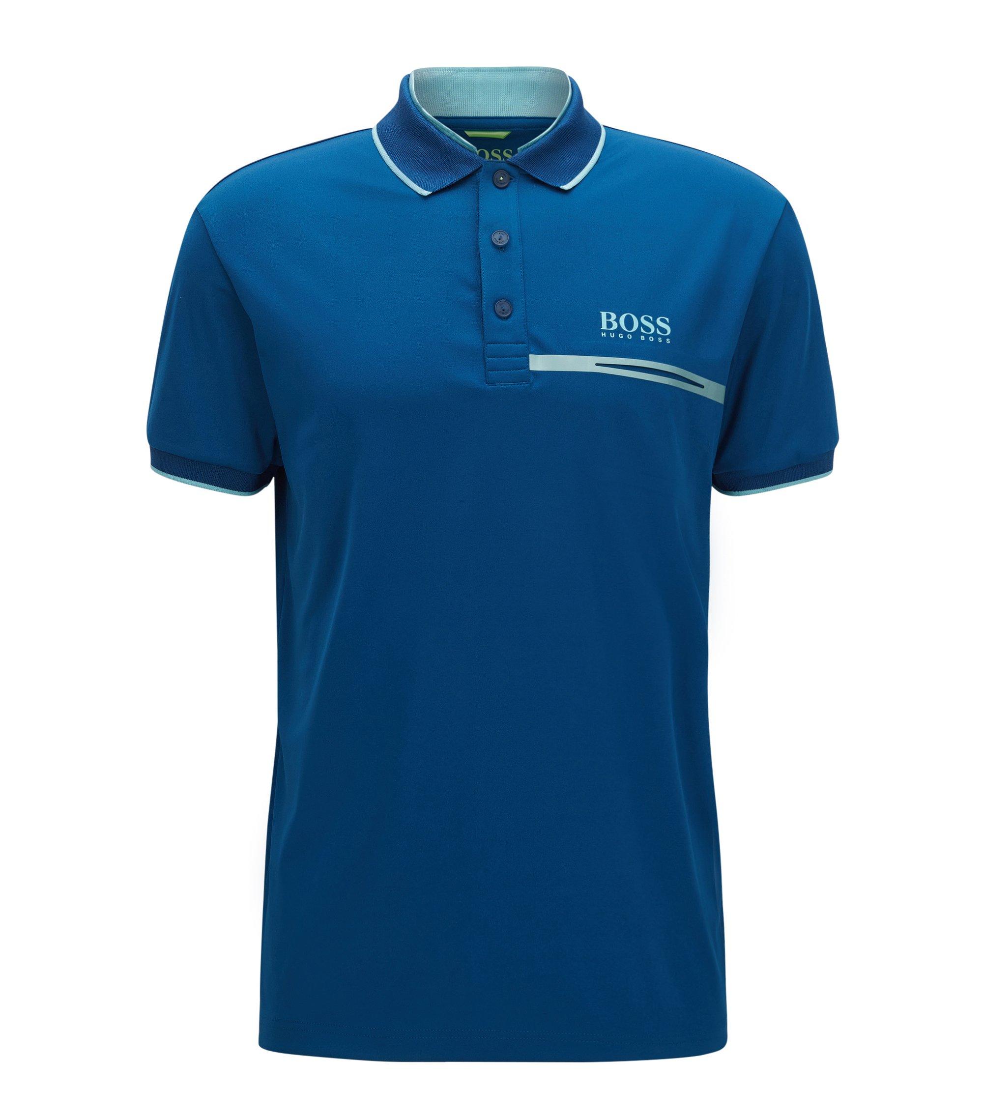 Polo regular fit in piqué tecnico, Blu