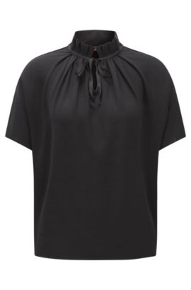 Crepe jersey top with pleated collar, Black