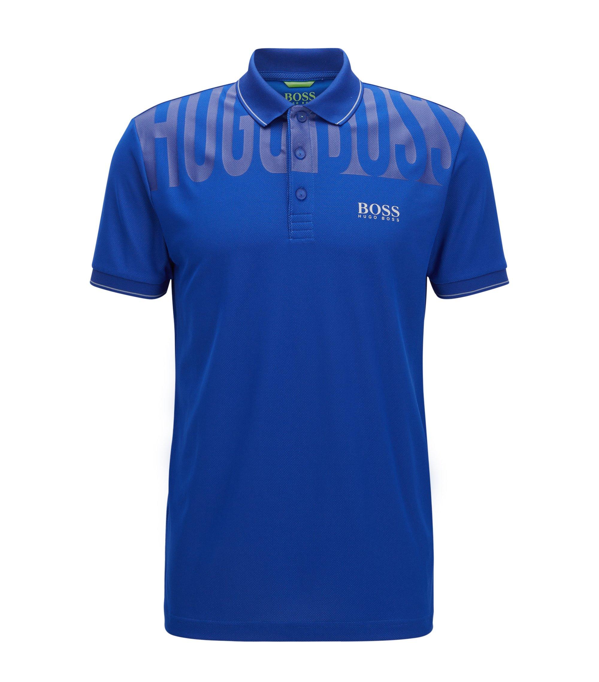 Slim-Fit Poloshirt aus atmungsaktivem Material-Mix, Blau