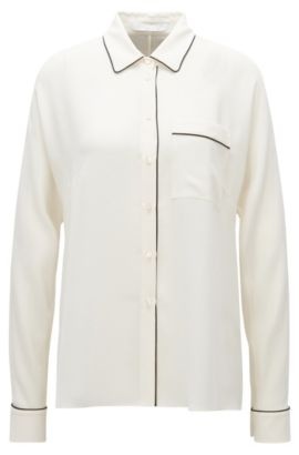 Relaxed-fit blouse in lightweight crêpe, Natural