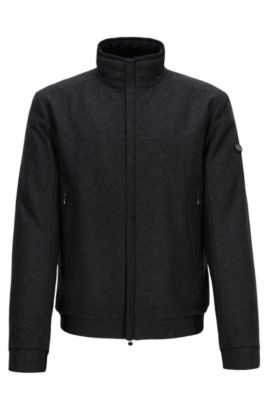 Regular-fit jacket in a wool blend, Anthracite