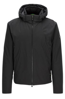 Regular-fit jacket in water-repellent fabric, Black
