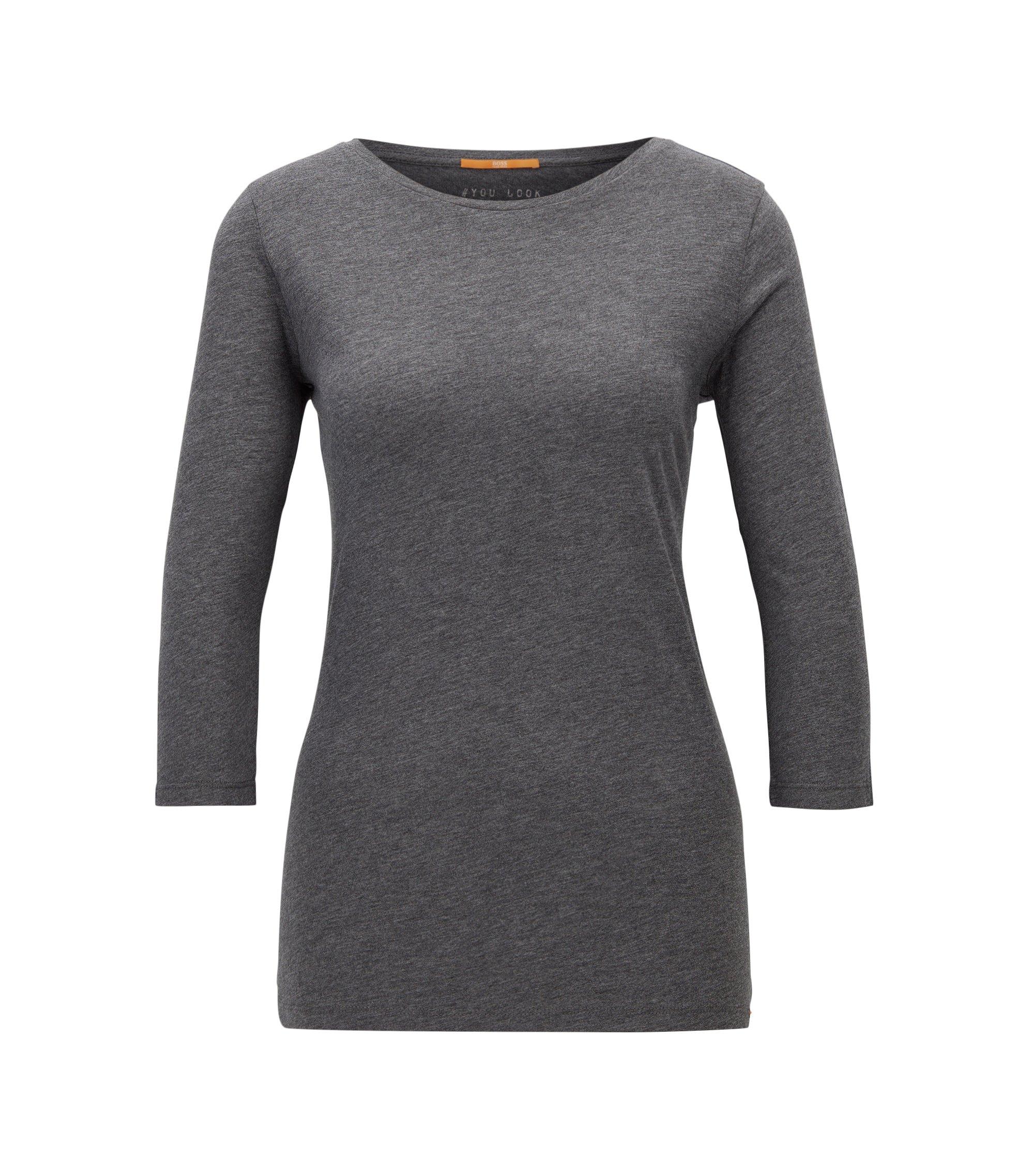 T-shirt slim fit in misto cotone, Grigio antracite