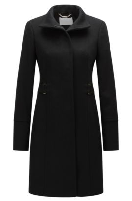 Regular-fit overcoat in wool and cashmere, Black