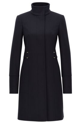 Regular-fit overcoat in wool and cashmere, Dark Blue
