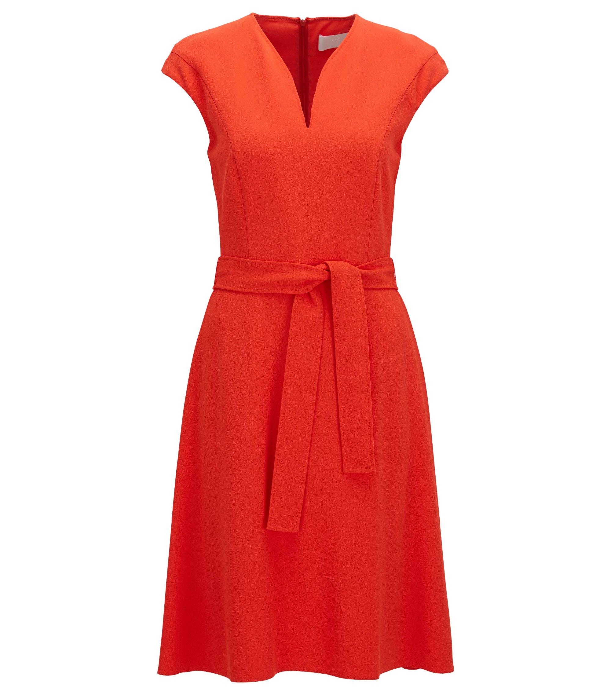 Regular-Fit Kleid aus Material-Mix mit V-Ausschnitt, Rot