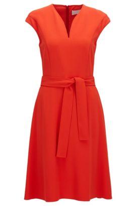 V-neck dress in satin-back crêpe, Red