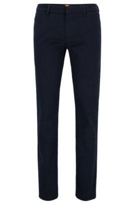 Cotton-blend trousers in a slim fit, Dark Blue