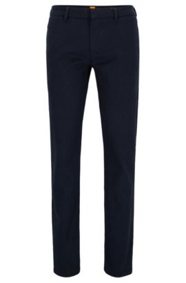 Pantalones slim fit en mezcla de algodón, Azul oscuro