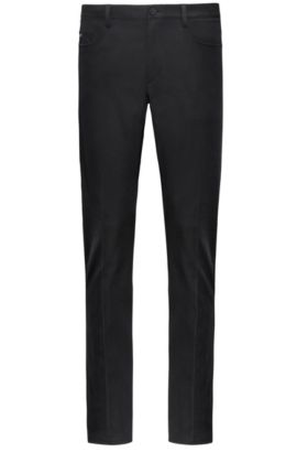 Pantalon Tapered Fit en gabardine imperméable, Noir