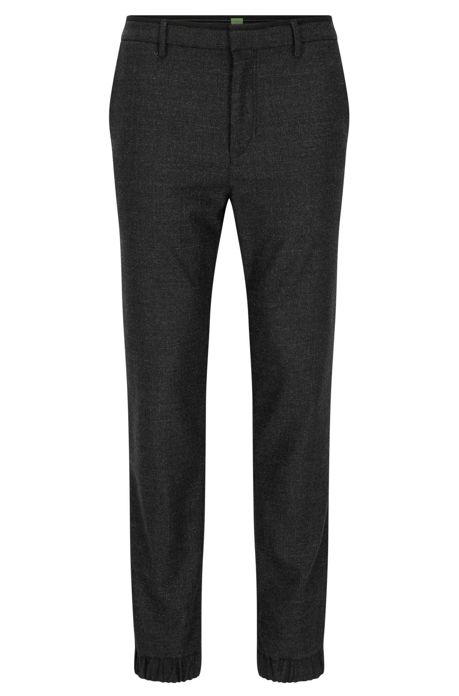 Pantaloni slim fit in tweed di misto lana