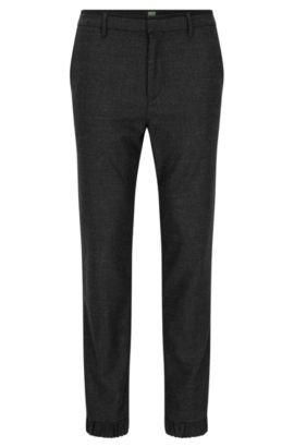 Pantalon Slim Fit en tweed de laine mélangé, Noir