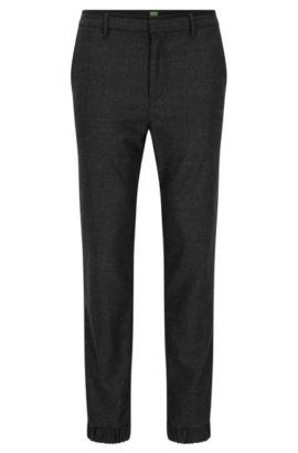 Slim-Fit Hose aus elastischem Woll-Mix, Schwarz