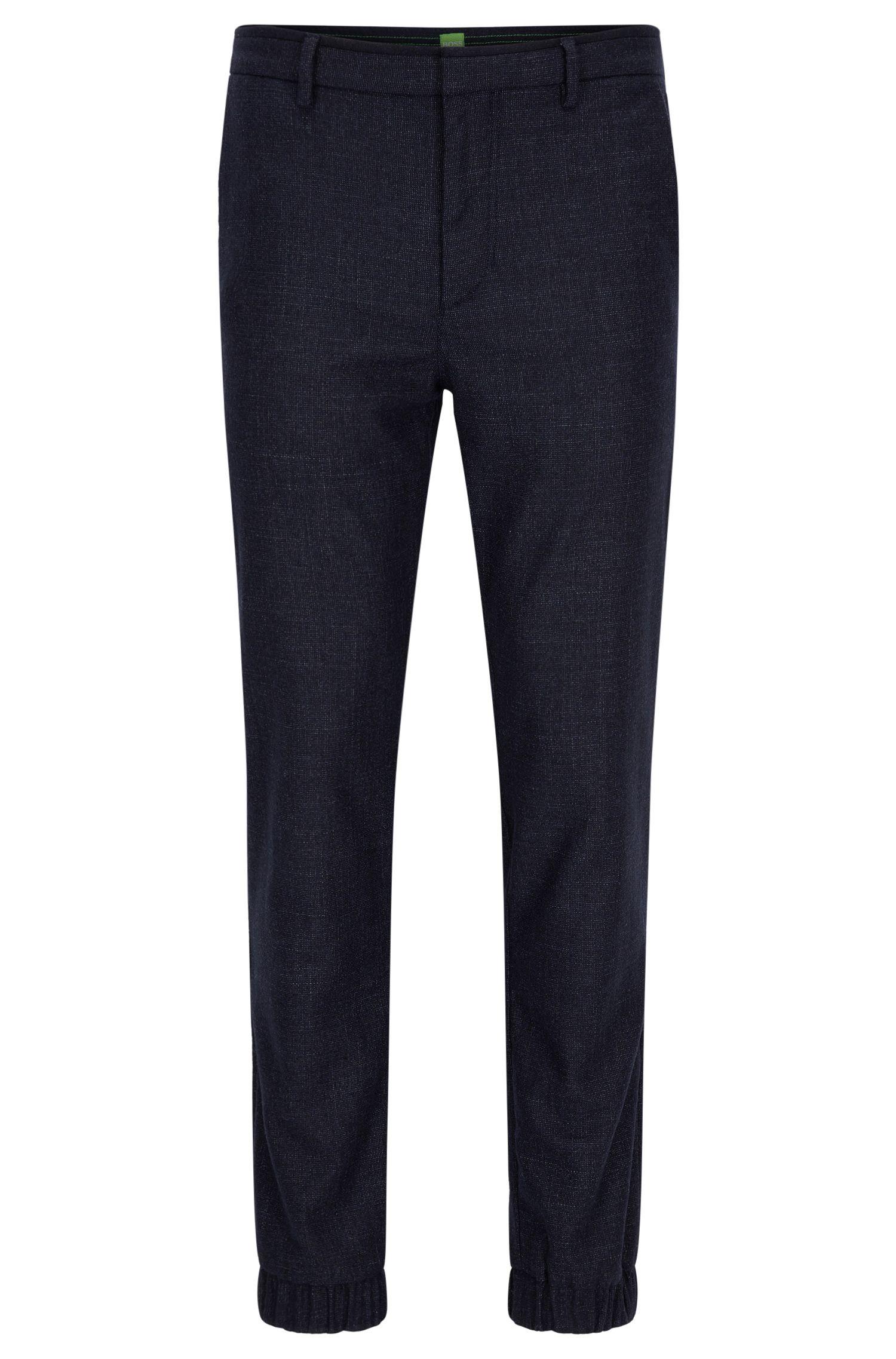 Slim-fit broek in een tweed van een wolmix