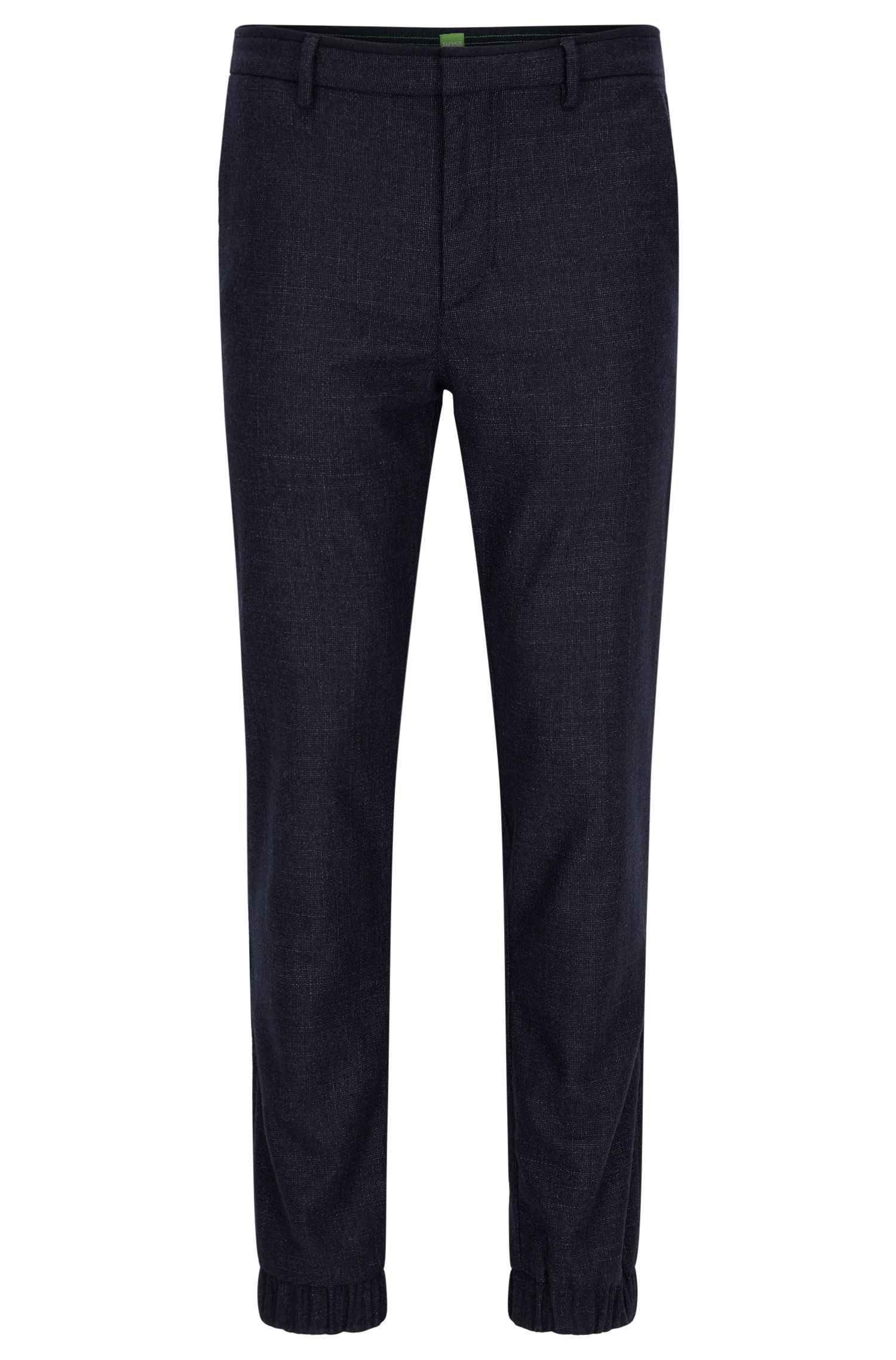 Pantaloni slim fit in tweed di misto lana
