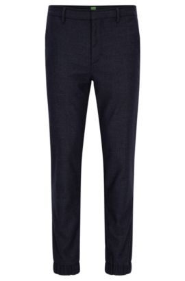 Slim-fit trousers in wool-blend tweed, Dark Blue
