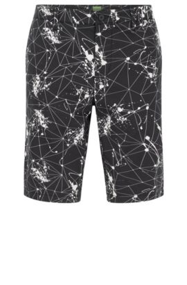 Slim-fit shorts in printed stretch cotton, Black