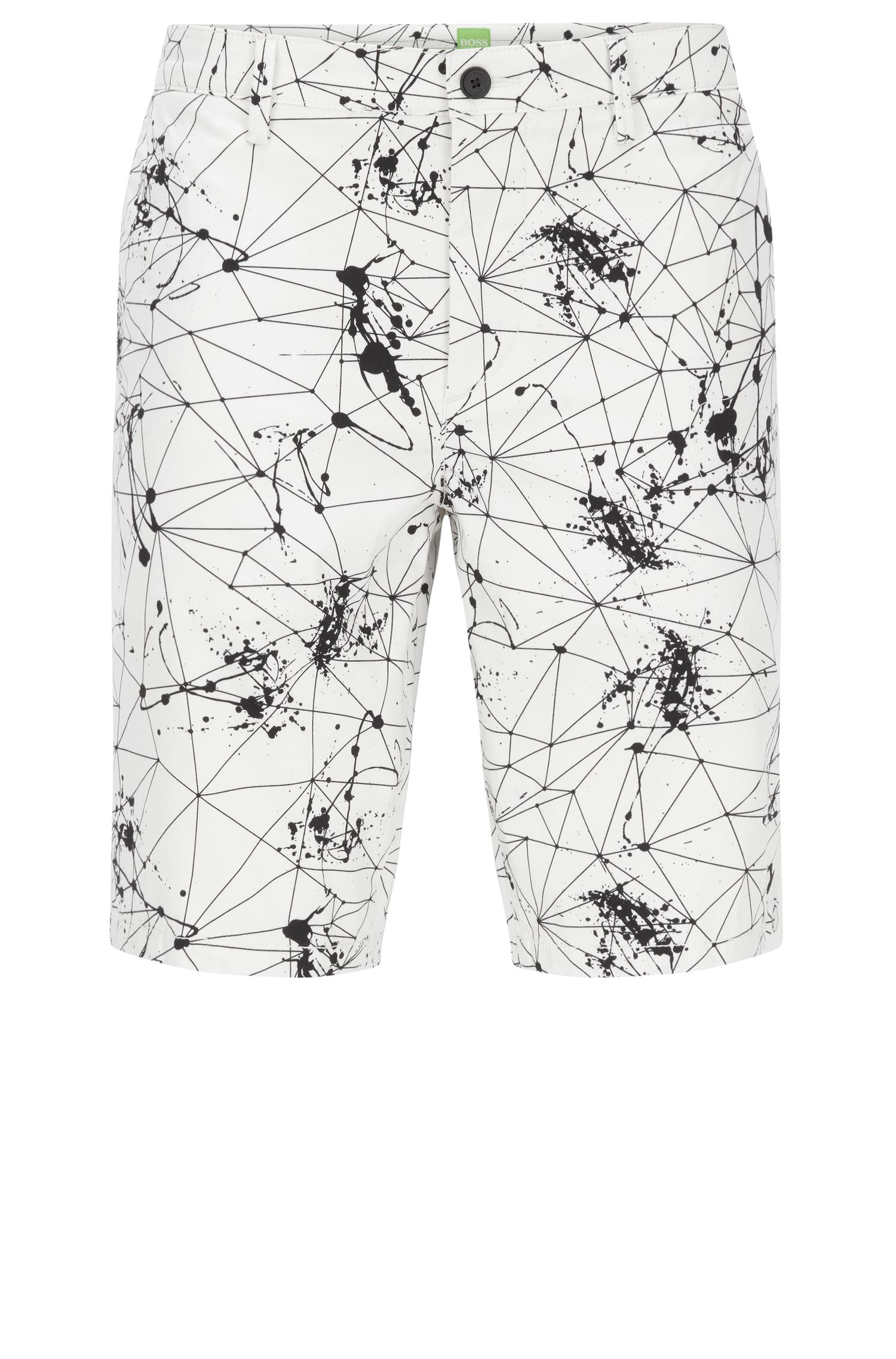 Slim-fit shorts in printed stretch cotton