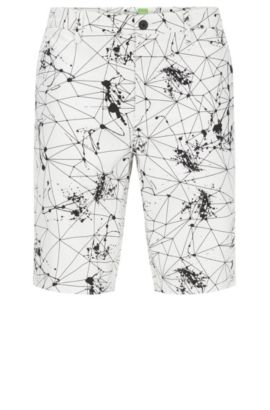 Short Slim Fit en coton stretch imprimé, Blanc