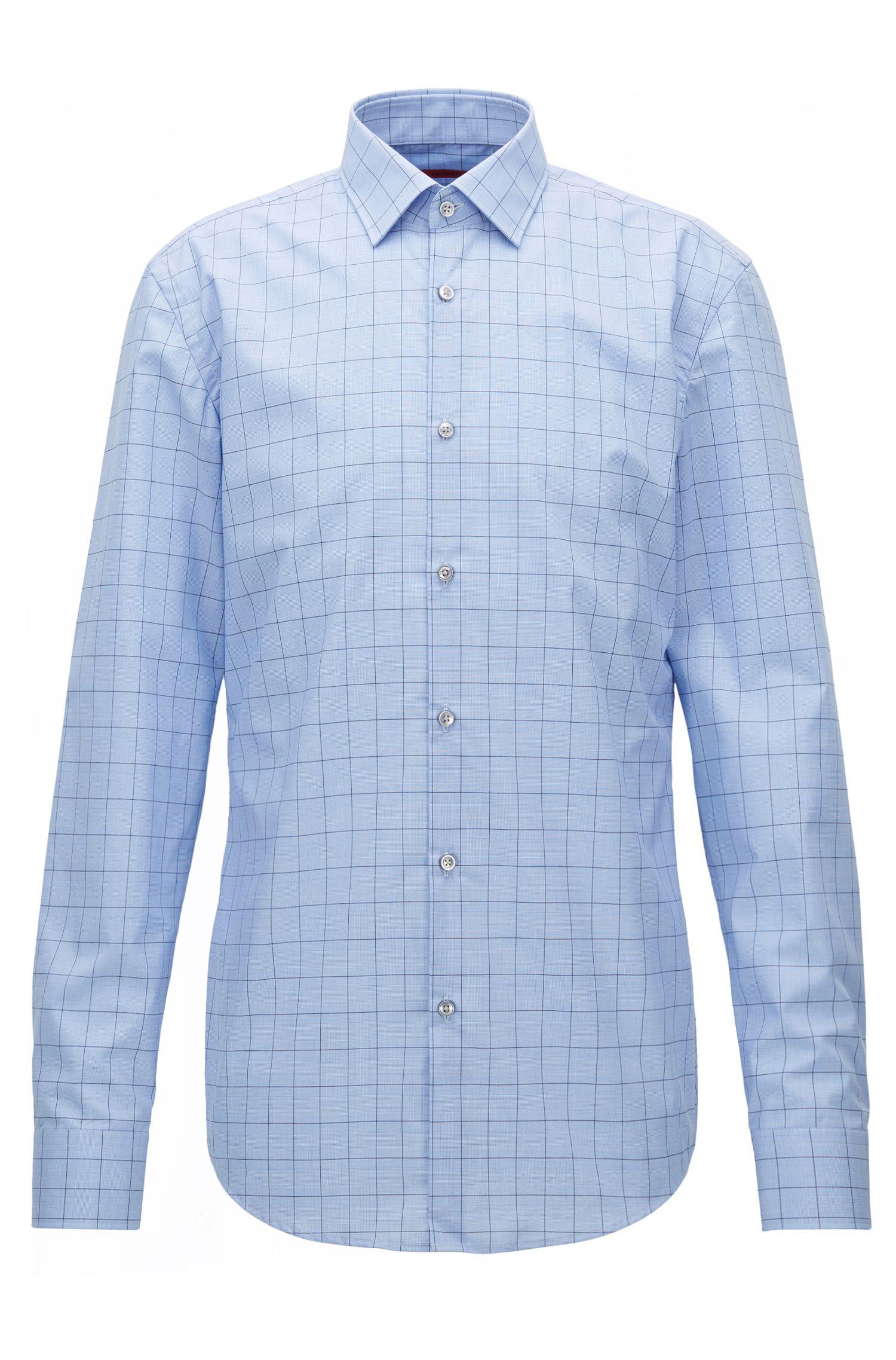 Slim-fit overhemd van katoen met grafisch ruitdessin
