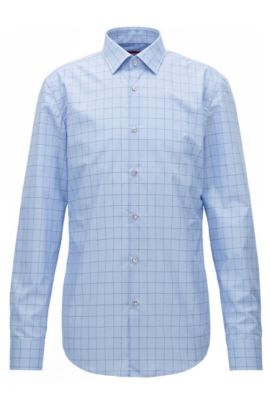 Graph check cotton shirt in a slim fit, Light Blue