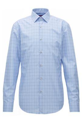 Slim-fit overhemd van katoen met grafisch ruitdessin, Lichtblauw