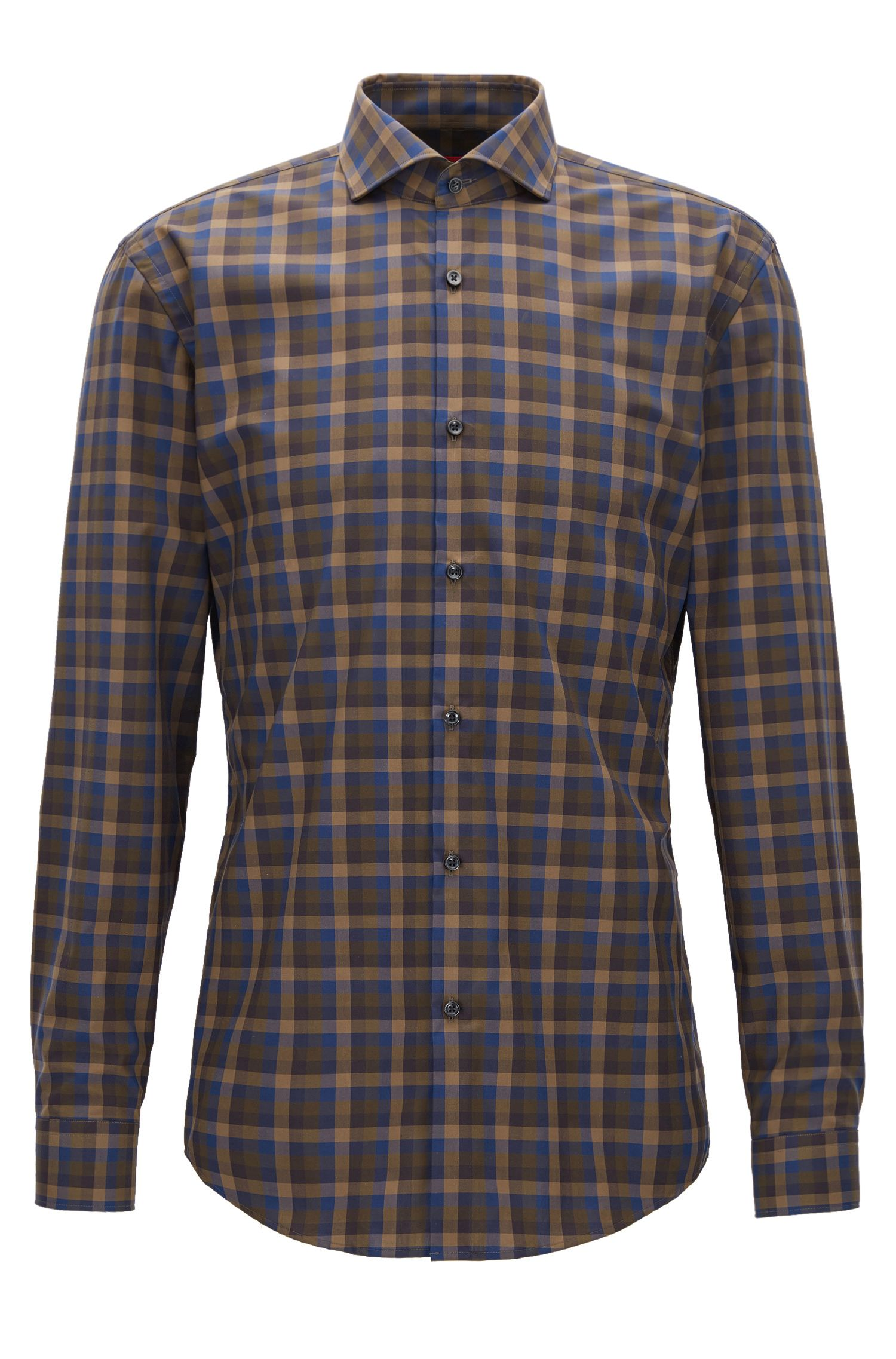 Camicia slim fit in popeline di cotone con motivo policromo a quadri Vichy