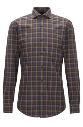 Slim-fit multi-coloured Vichy check shirt in cotton poplin, Brown