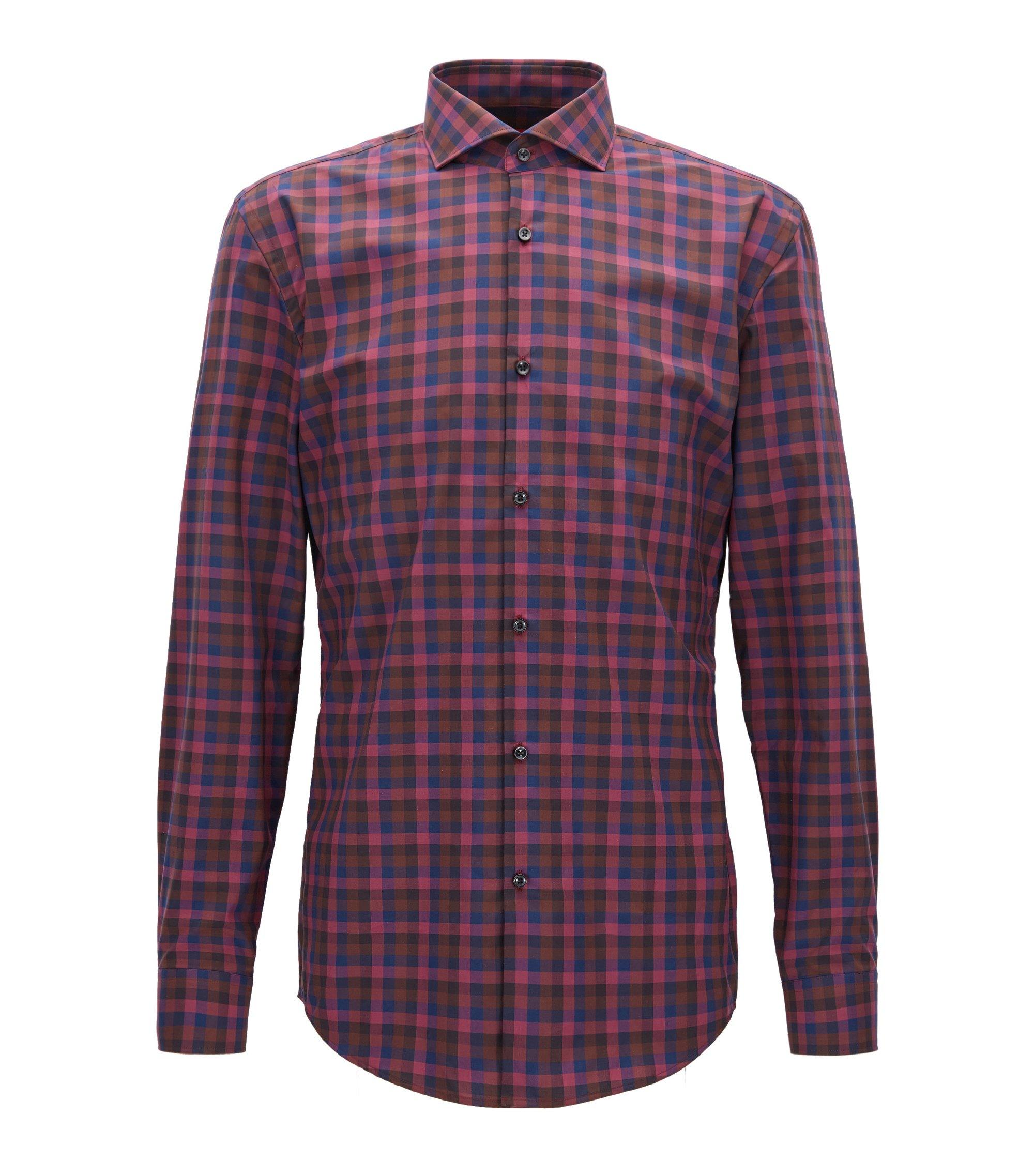 Mehrfarbiges Slim-Fit Hemd aus reiner Baumwolle mit Vichy-Karo, Dunkelrot