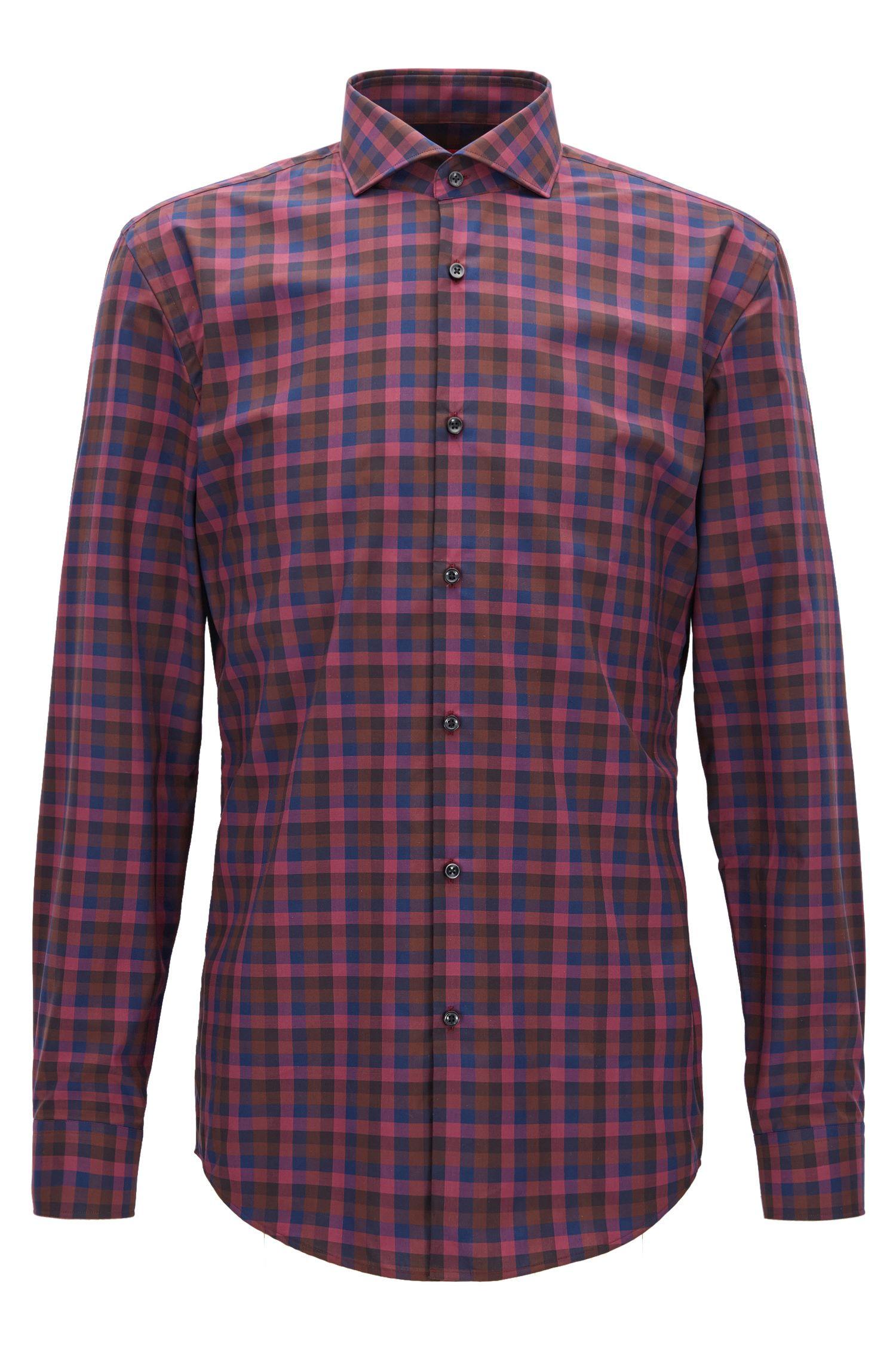 Mehrfarbiges Slim-Fit Hemd aus reiner Baumwolle mit Vichy-Karo