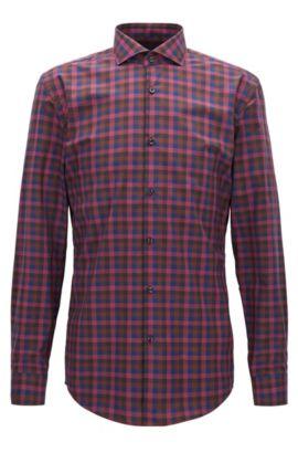 Camicia slim fit in popeline di cotone con motivo policromo a quadri Vichy, Rosso scuro