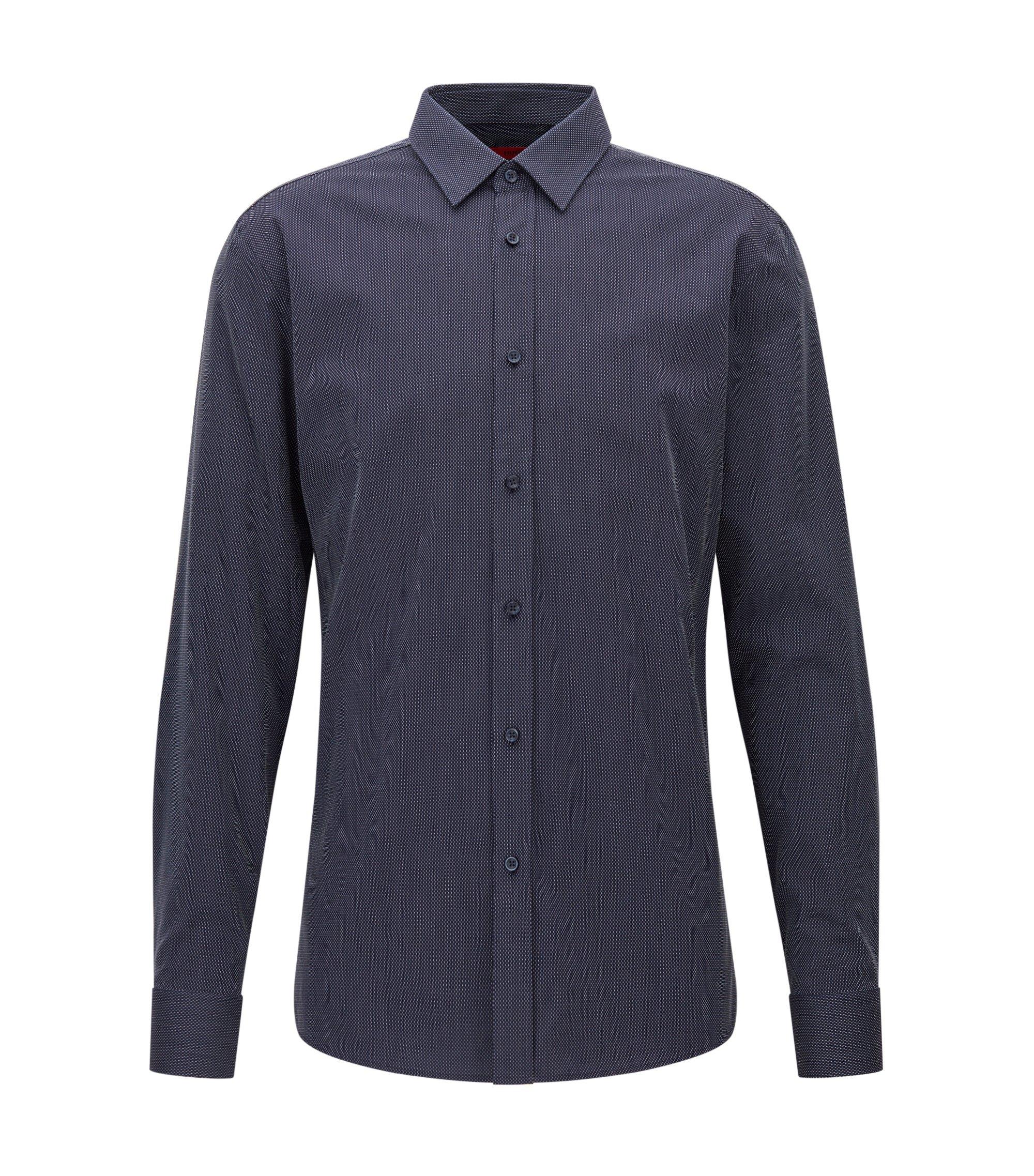Camicia slim fit in cotone microstrutturato, Blu scuro