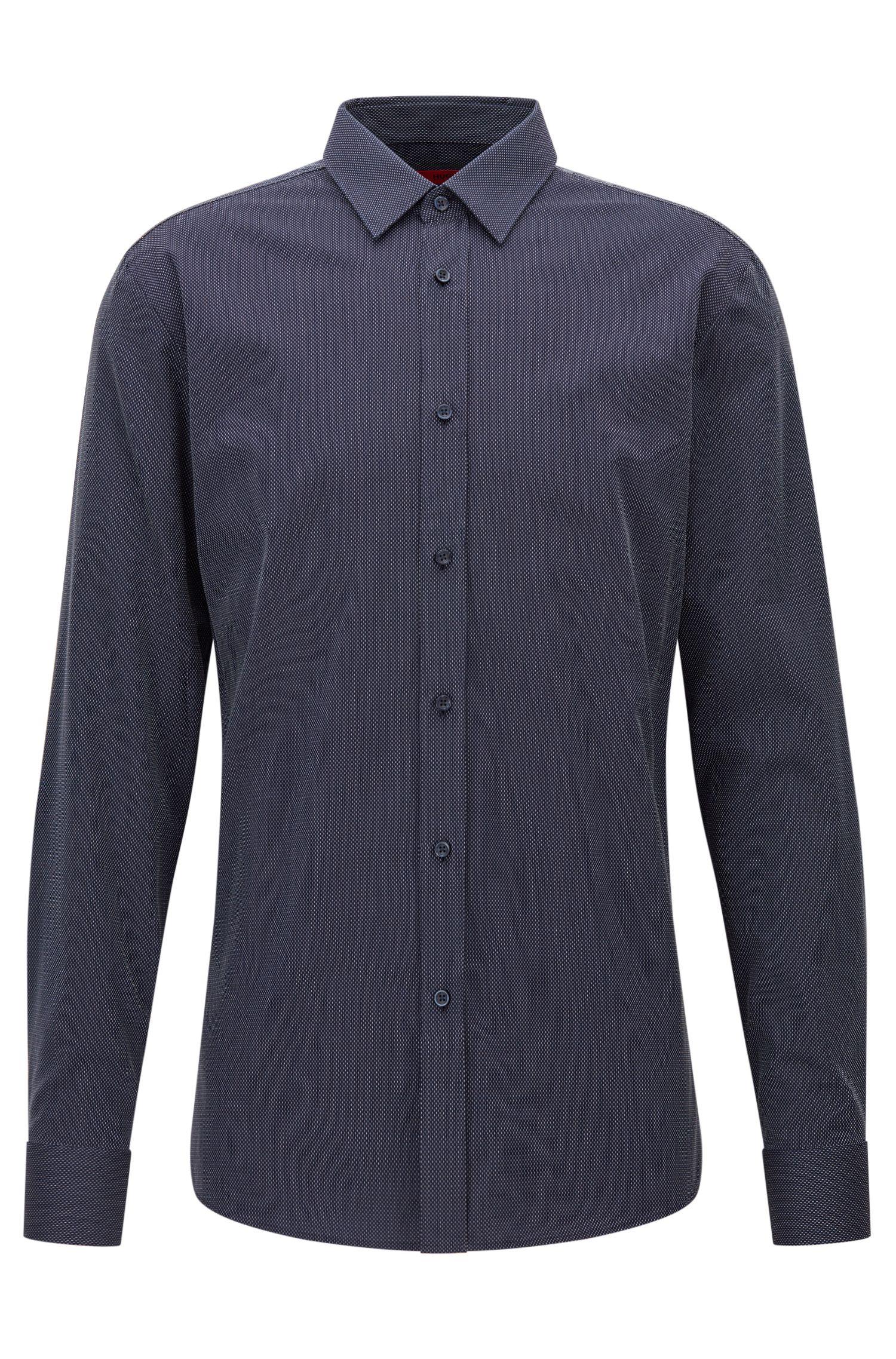 Camicia slim fit in cotone microstrutturato