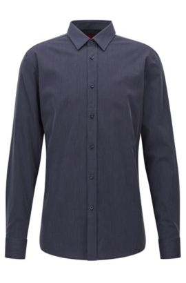 Micro-structured cotton shirt in a slim fit, Dark Blue