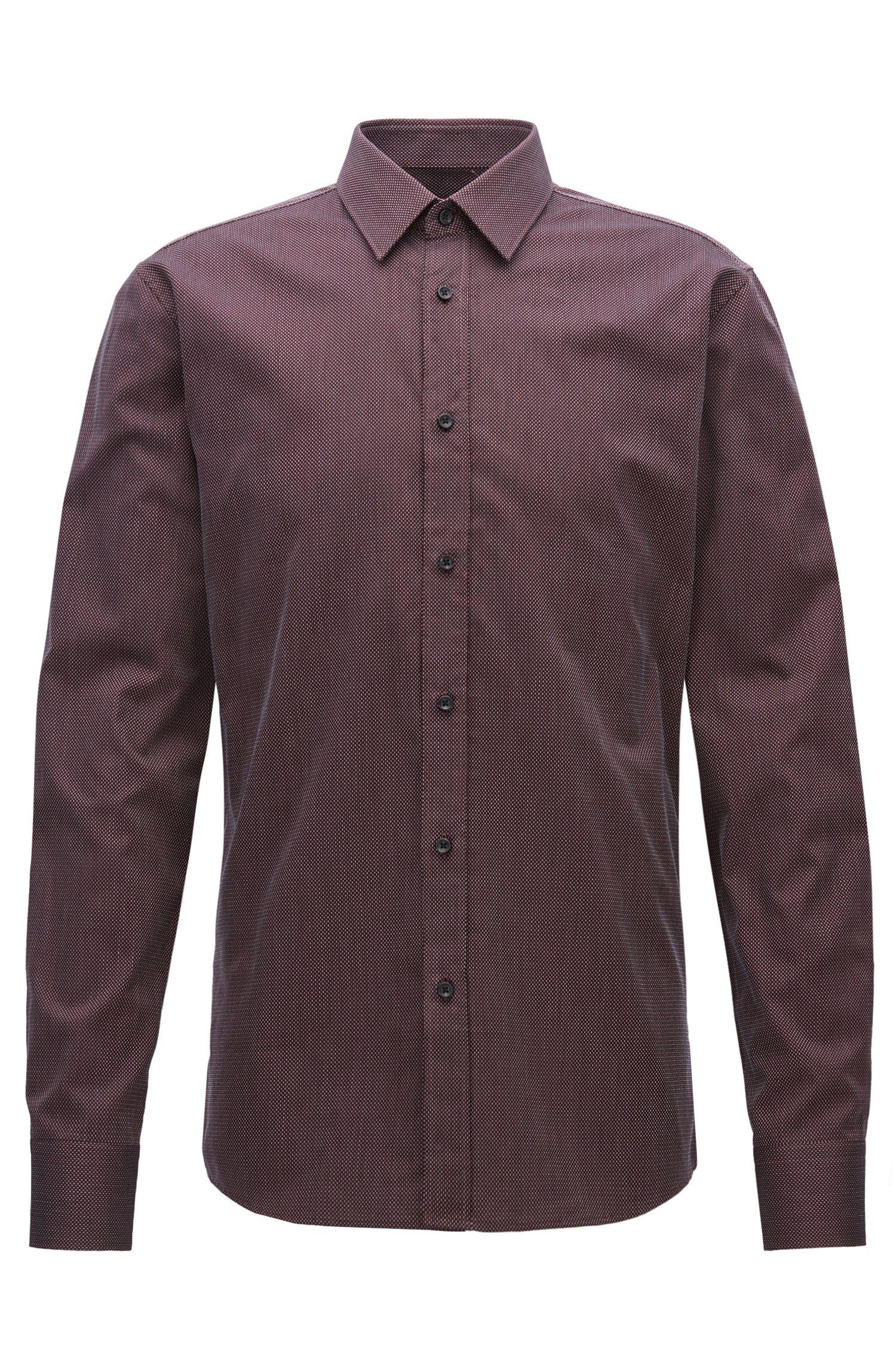 Camisa slim fit de algodón con microtextura