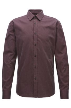 Micro-structured cotton shirt in a slim fit, Dark Red
