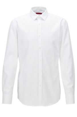 Slim-Fit Hemd aus strukturierter Baumwoll-Popeline , Weiß