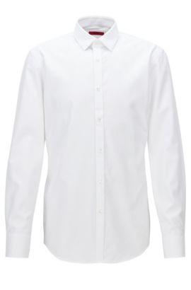 Chemise Slim Fit en popeline de coton structuré , Blanc
