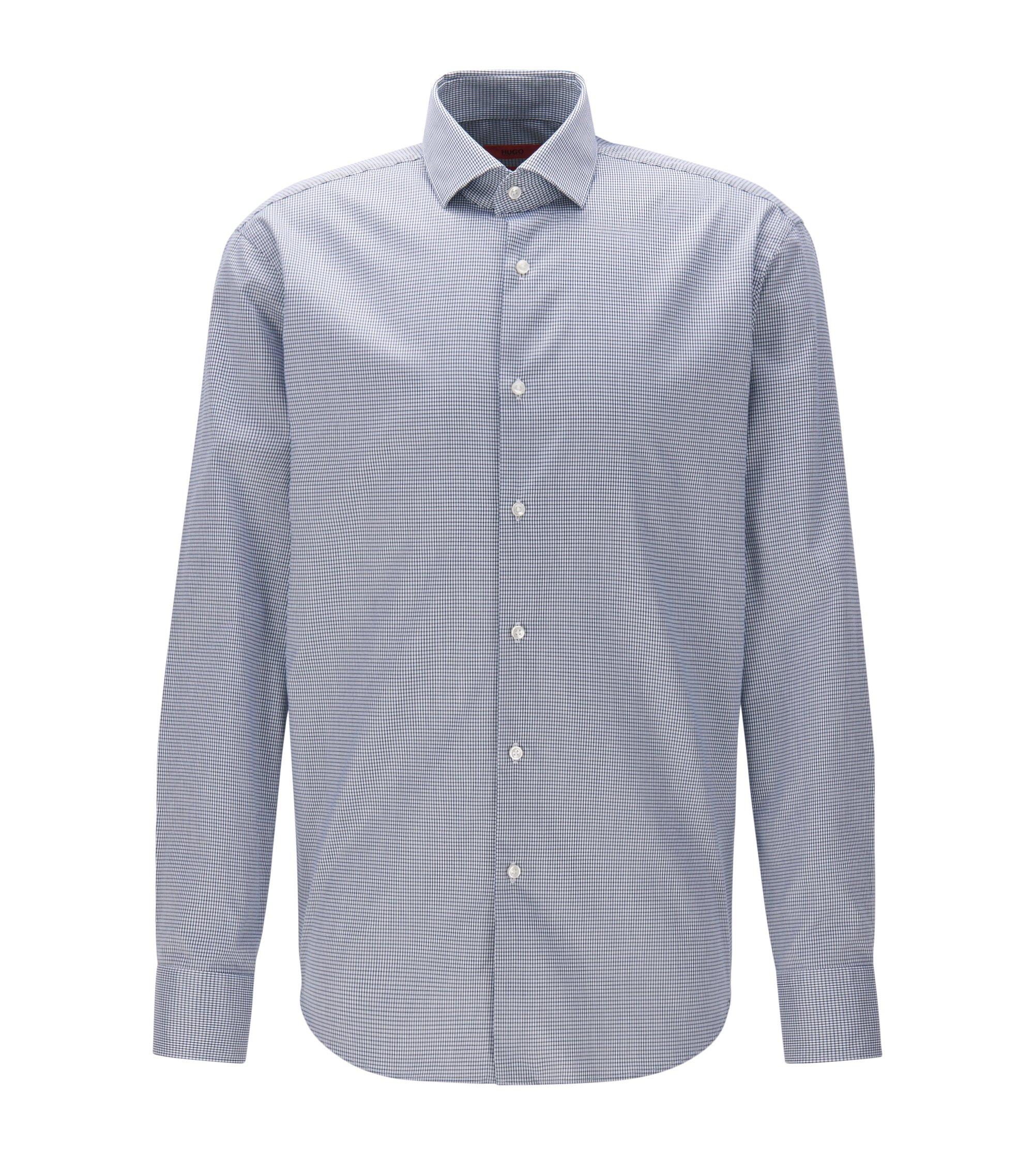 Chemise Regular Fit en twill de coton à carreaux sans repassage, Bleu foncé