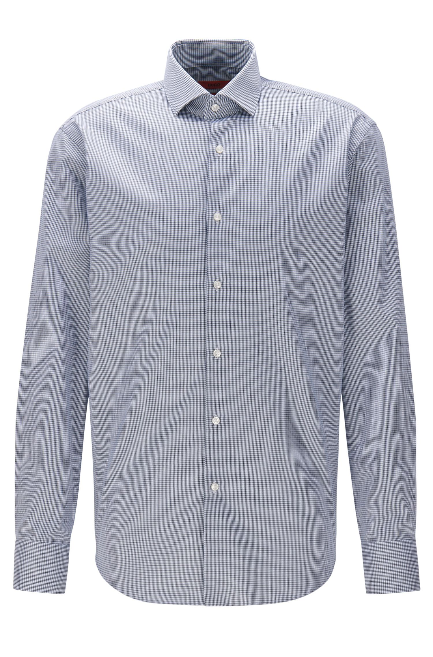 Regular-fit non-iron shirt in checked cotton twill