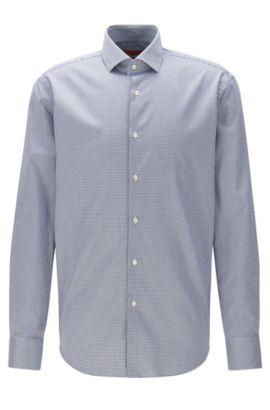 Regular-fit non-iron shirt in checked cotton twill, Dark Blue